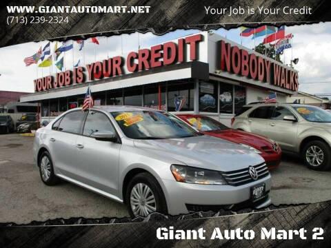 2015 Volkswagen Passat for sale at Giant Auto Mart 2 in Houston TX