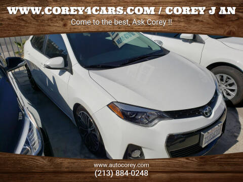 2016 Toyota Corolla for sale at WWW.COREY4CARS.COM / COREY J AN in Los Angeles CA
