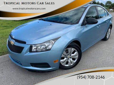 2012 Chevrolet Cruze for sale at Tropical Motors Car Sales in Deerfield Beach FL