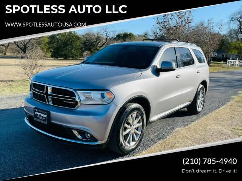 2017 Dodge Durango for sale at SPOTLESS AUTO LLC in San Antonio TX