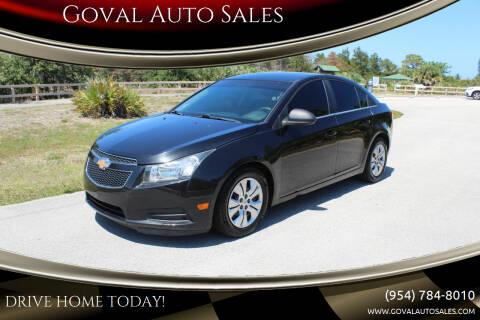 2012 Chevrolet Cruze for sale at Goval Auto Sales in Pompano Beach FL