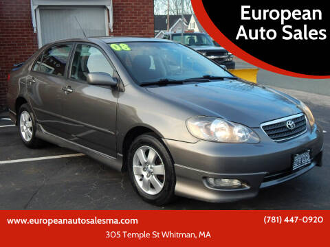 2008 Toyota Corolla for sale at European Auto Sales in Whitman MA
