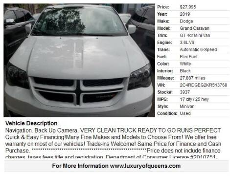 2019 Dodge Grand Caravan for sale at LUXURY OF QUEENS,INC in Long Island City NY