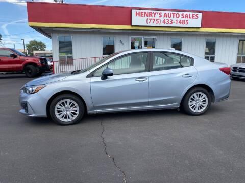 2018 Subaru Impreza for sale at Henry's Autosales, LLC in Reno NV