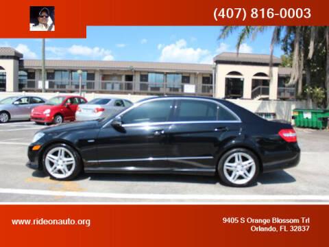 2012 Mercedes-Benz E-Class for sale at Ride On Auto in Orlando FL