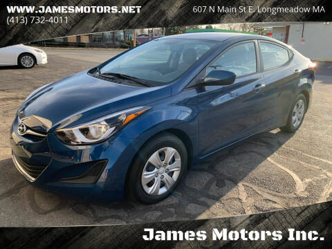 2016 Hyundai Elantra for sale at James Motors Inc. in East Longmeadow MA