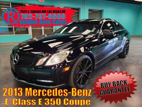 2013 Mercedes-Benz E-Class for sale at Reliable Auto Sales in Las Vegas NV