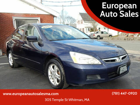 2007 Honda Accord for sale at European Auto Sales in Whitman MA