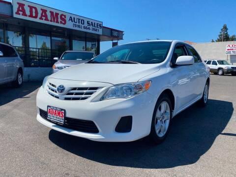 2013 Toyota Corolla for sale at Adams Auto Sales in Sacramento CA