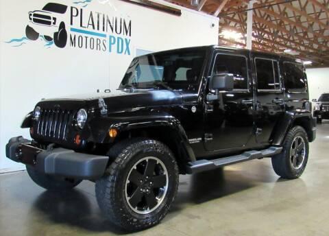 2012 Jeep Wrangler Unlimited for sale at Platinum Motors in Portland OR