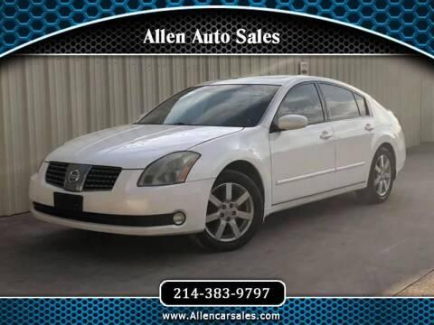 2004 Nissan Maxima for sale at Allen Auto Sales in Dallas TX