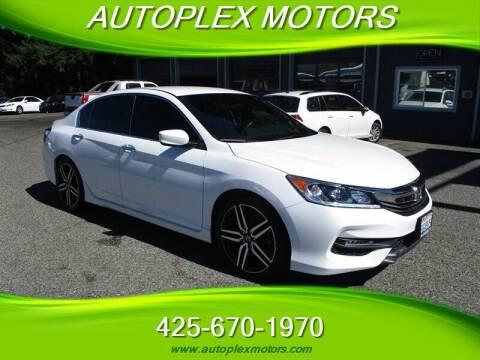 2016 Honda Accord for sale at Autoplex Motors in Lynnwood WA