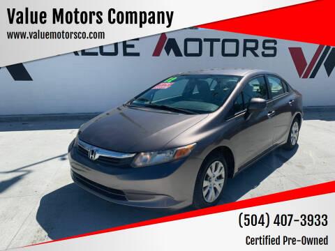 2012 Honda Civic for sale at Value Motors Company in Marrero LA