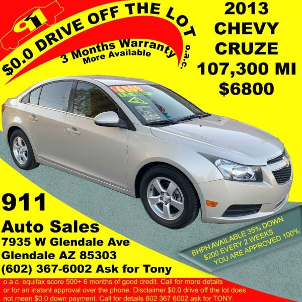 2013 Chevrolet Cruze for sale at 911 AUTO SALES LLC in Glendale AZ