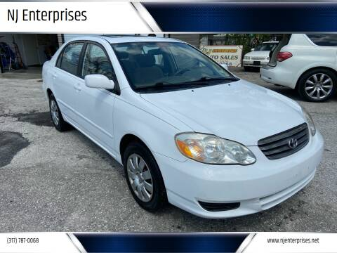 2003 Toyota Corolla for sale at NJ Enterprises in Indianapolis IN
