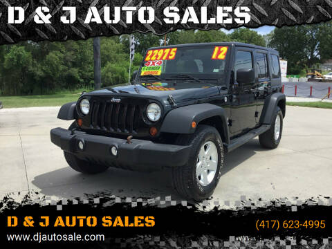 2012 Jeep Wrangler Unlimited for sale at D & J AUTO SALES in Joplin MO
