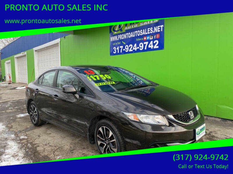 2013 Honda Civic for sale at PRONTO AUTO SALES INC in Indianapolis IN