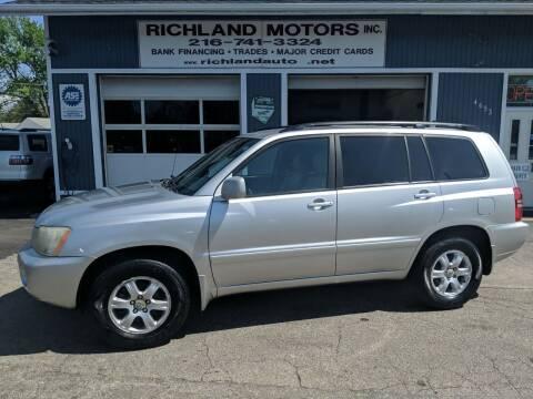 2002 Toyota Highlander for sale at Richland Motors in Cleveland OH