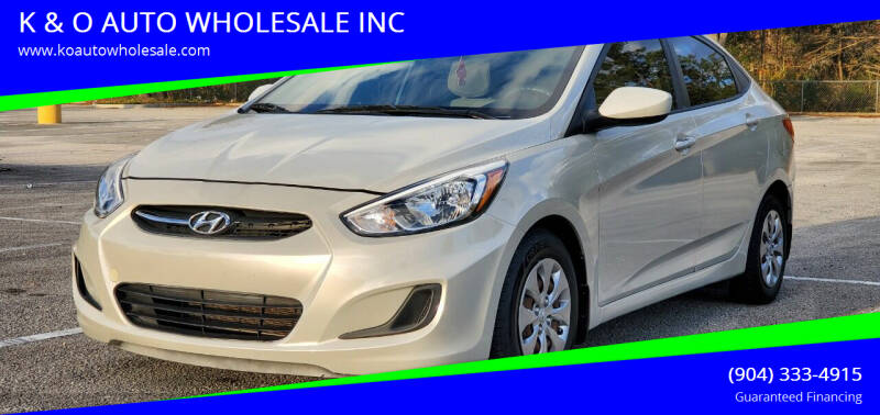 2016 Hyundai Accent for sale at K & O AUTO WHOLESALE INC in Jacksonville FL