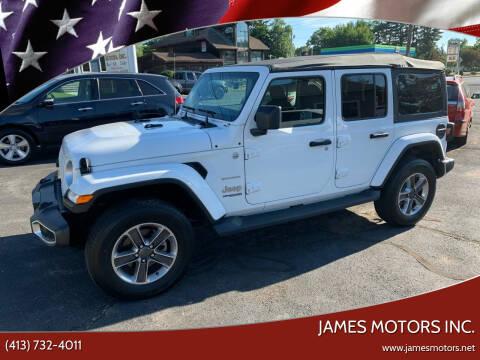 2019 Jeep Wrangler Unlimited for sale at James Motors Inc. in East Longmeadow MA