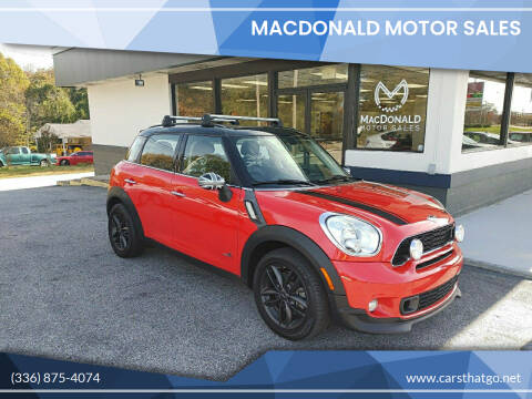 2012 MINI Cooper Countryman for sale at MacDonald Motor Sales in High Point NC