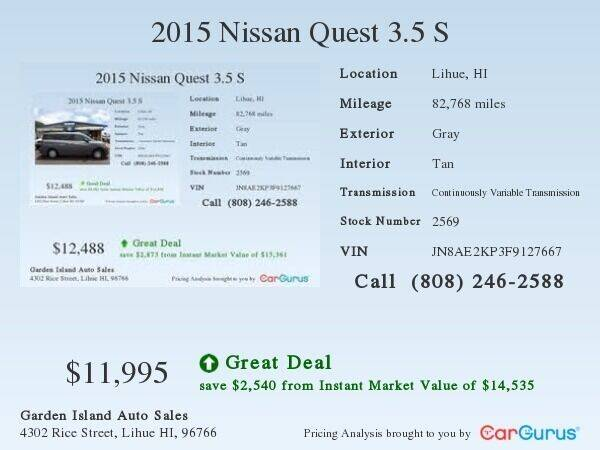2015 Nissan Quest for sale at Garden Island Auto Sales in Lihue HI