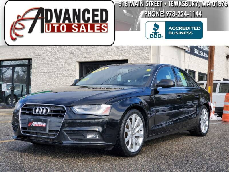 2013 Audi A4 for sale at Advanced Auto Sales in Tewksbury MA