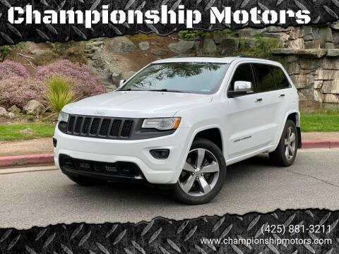 2015 Jeep Grand Cherokee for sale at Championship Motors in Redmond WA