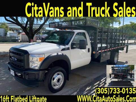 2015 FORD F550 SD DRW 16FT STAKEBED FLATBED LIFTGATE for sale at Cita Auto Sales in Medley FL