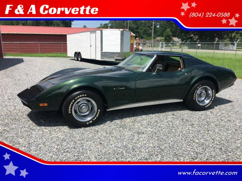 1974 Chevrolet Corvette for sale at F & A Corvette in Colonial Beach VA