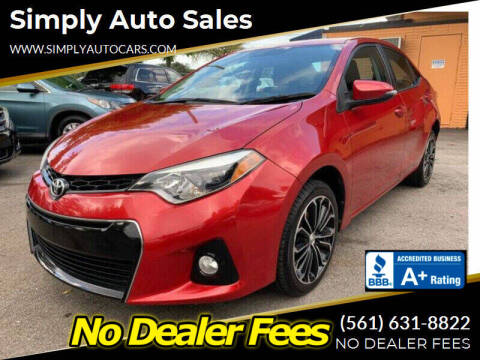 2016 Toyota Corolla for sale at Simply Auto Sales in Palm Beach Gardens FL
