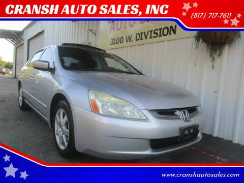 2004 Honda Accord for sale at CRANSH AUTO SALES, INC in Arlington TX