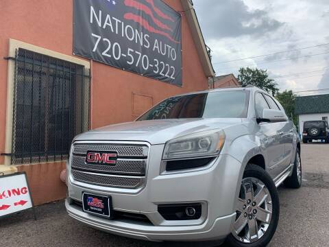 2013 GMC Acadia for sale at Nations Auto Inc. II in Denver CO