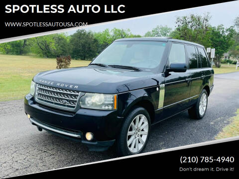 2010 Land Rover Range Rover for sale at SPOTLESS AUTO LLC in San Antonio TX
