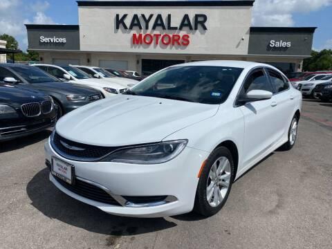 2016 Chrysler 200 for sale at KAYALAR MOTORS in Houston TX