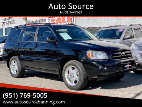 2006 Toyota Highlander for sale at Auto Source in Banning CA