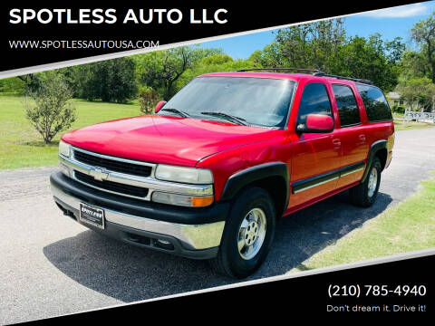 2001 Chevrolet Suburban for sale at SPOTLESS AUTO LLC in San Antonio TX