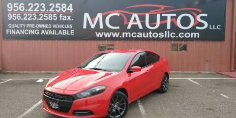 2016 Dodge Dart for sale at MC Autos LLC in Pharr TX