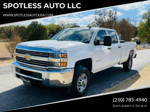 2016 Chevrolet Silverado 2500HD for sale at SPOTLESS AUTO LLC in San Antonio TX