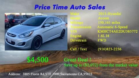 2013 Hyundai Accent for sale at PRICE TIME AUTO SALES in Sacramento CA