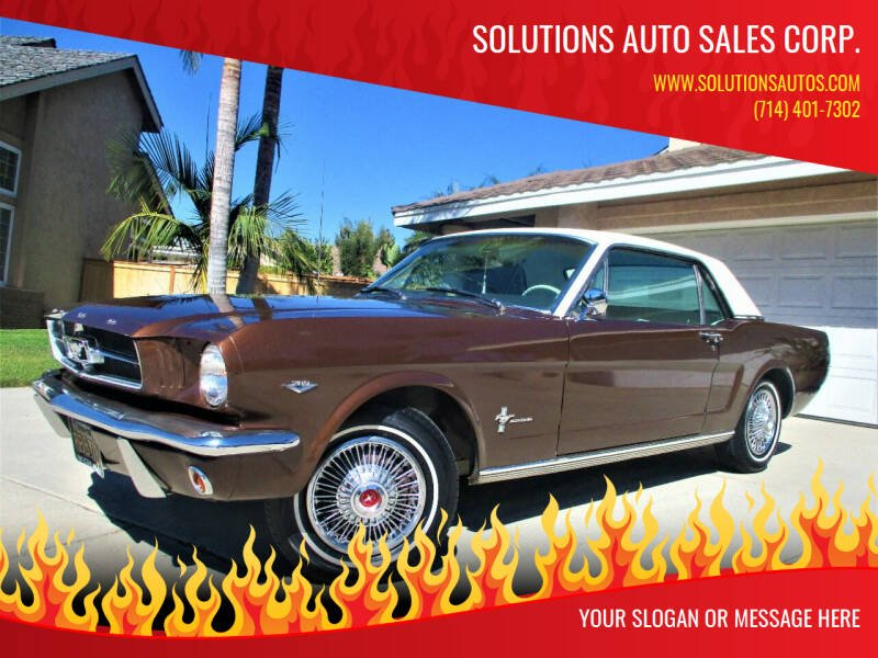 1965 Ford Mustang for sale at Solutions Auto Sales Corp. in Orange CA