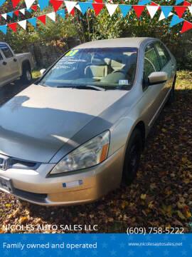 2003 Honda Accord for sale at NICOLES AUTO SALES LLC in Cream Ridge NJ