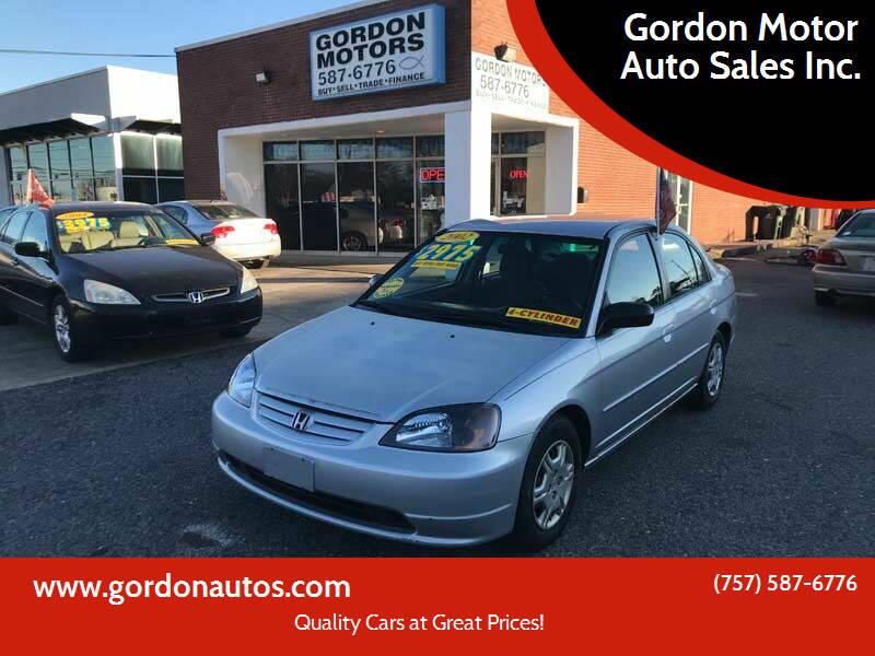 2002 Honda Civic for sale at Gordon Motor Auto Sales Inc. in Norfolk VA