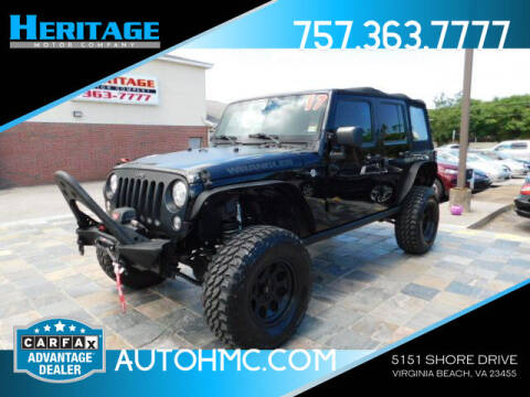 2017 Jeep Wrangler Unlimited for sale at Heritage Motor Company in Virginia Beach VA