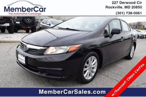2012 Honda Civic for sale at MemberCar in Rockville MD