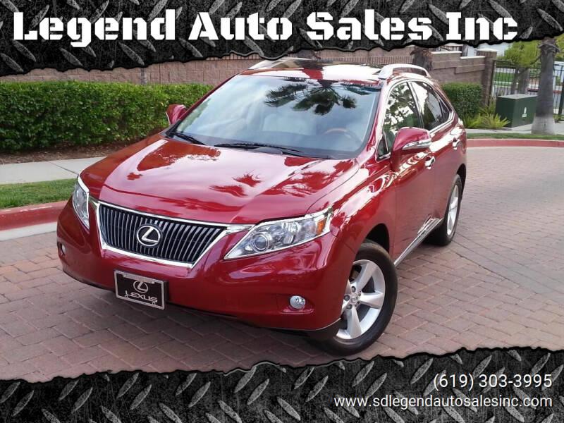 2011 Lexus RX 350 for sale at Legend Auto Sales Inc in Lemon Grove CA