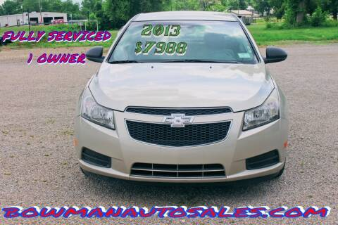 2013 Chevrolet Cruze for sale at Bowman Auto Sales in Hebron OH