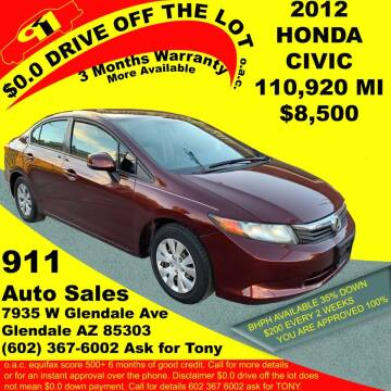 2012 Honda Civic for sale at 911 AUTO SALES LLC in Glendale AZ