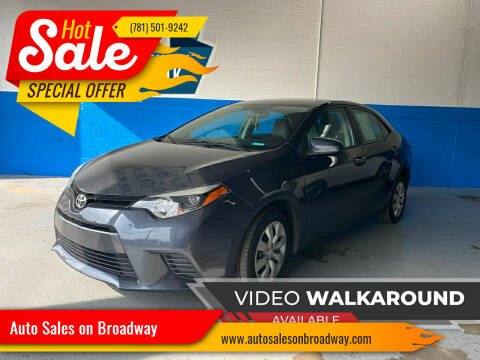 2016 Toyota Corolla for sale at Auto Sales on Broadway in Norwood MA