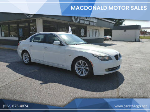 2009 BMW 5 Series for sale at MacDonald Motor Sales in High Point NC